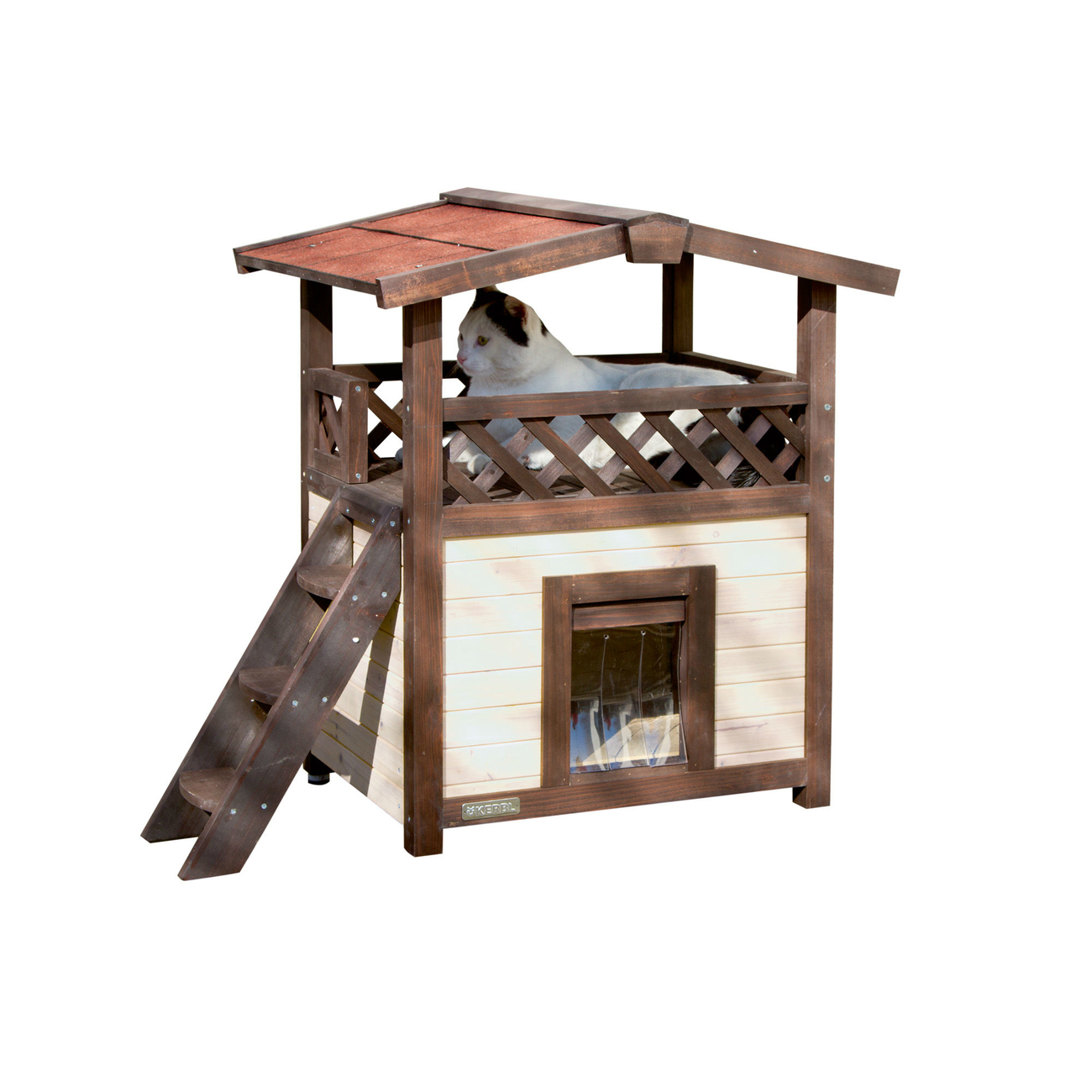 Kerbl Winterfestes Katzenhaus 4 Seasons Deluxe optional beheizbar, 88x57x77 cm