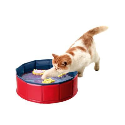 Kitty Lake Wasserspielzeug für Katzen, Höhe 10 cm,  ø 30 cm blau-rot