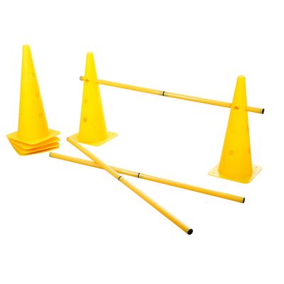 Agility Pylonen-Hürden Set für Hunde, gelb, 3 Hürden, 6 Pylonen