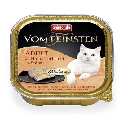 Animonda Vom Feinsten Katzenfutter mit Schlemmerkern, mit Rind, Lachsfilet & Spinat 32x100g