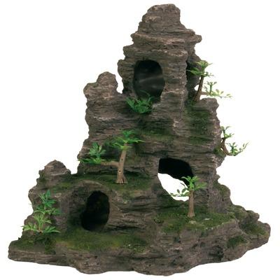 TRIXIE Aquarium Felsen mit Höhle und Pflanzen