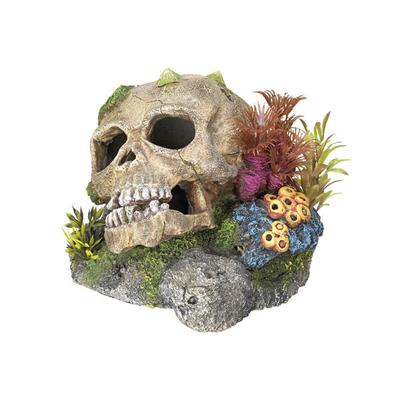 Aquarium Ornament TOTENKOPF mit Pflanzen