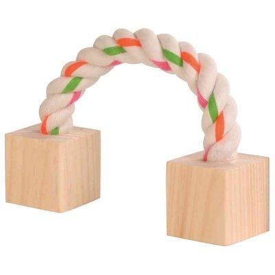 Trixie Baumwollspielseil mit Holz für Kleintiere