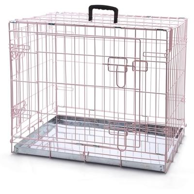 Beeztees Gitterbox Transportkäfig für Welpen, 62 x 44 x 49 cm, rosa