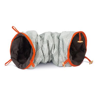 Beeztees Spieltunnel für Katzen, 75 x 25 x 25 cm, grau / orange