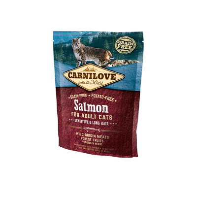 Carnilove Salmon Sensitive & Long Hair für Langhaarkatzen, 400 g