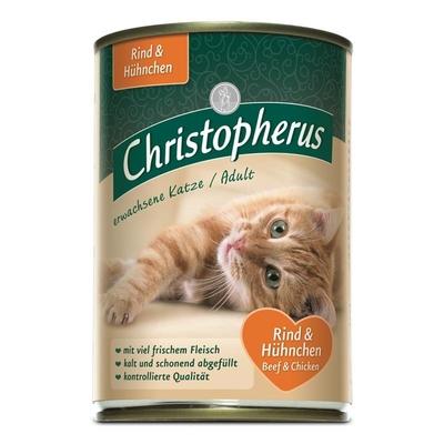 Christopherus Adult Katzenfutter, Rind & Huhn 6x400g