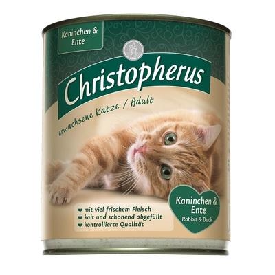 Christopherus Adult Katzenfutter, Kaninchen & Ente 6 x 800g