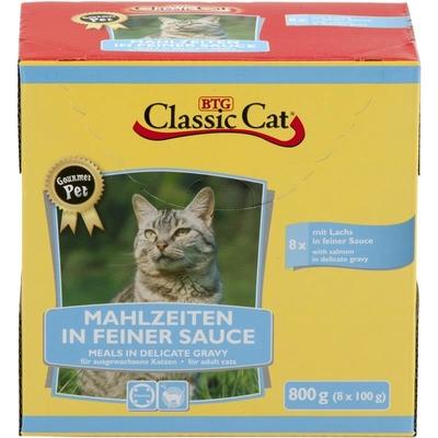 Classic Cat Mahlzeit in feiner Sauce Katzenfutter, Lachs & Forelle 8x100g-Pouchbeutel