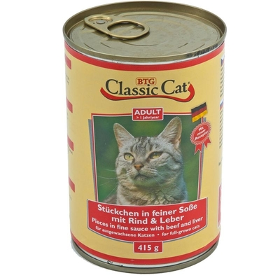 Classic Cat mit Soße Dosen Katzenfutter, Rind & Leber 12x415g
