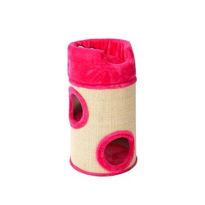Coockoo Cat Dome De Luxe Kratztonne für Katzen, 34x34x72cm, pink