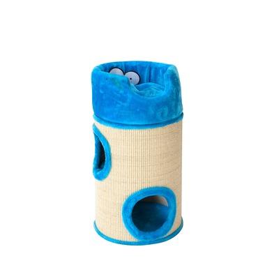 Coockoo Cat Dome De Luxe Kratztonne für Katzen, 34x34x72cm, blau