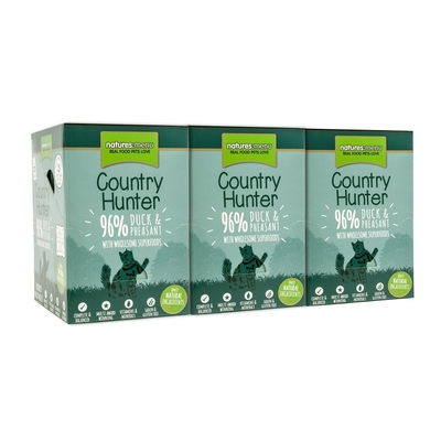Country Hunter Katzenfutter Frischebeutel, 96% Ente & Fasan 6x85g