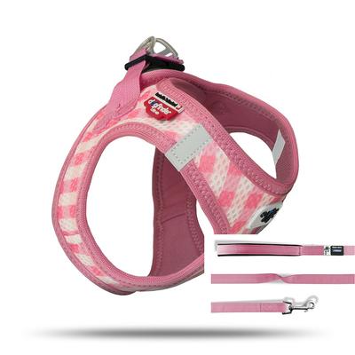 Curli Vest Geschirr mit Leine Puppy Welpen Set, M, Pink-caro