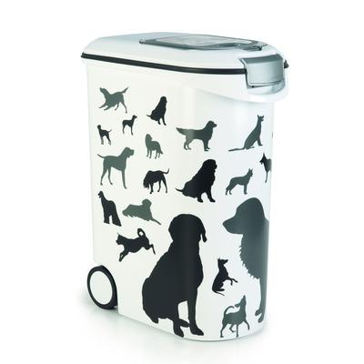 Curver Futtertonne Futterbehälter Silhouette Hunde, 20 kg / 52 ltr. auf Rollen