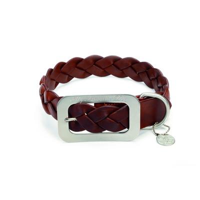 Designed By Lotte Lederhalsband für Hunde geflochten, 47 cm x 22 mm, braun