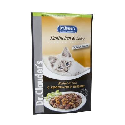 Dr. Clauders Katzenfutter im Frischebeutel, Kaninchen & Leber in Soße, 20 x 100g