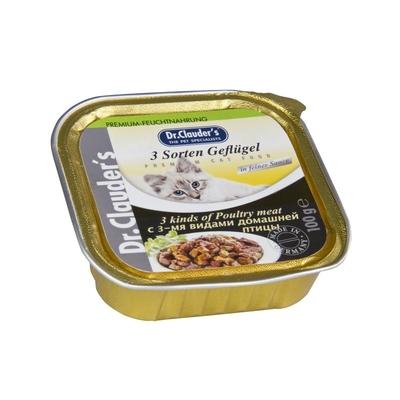 Dr. Clauders Katzenfutter Schälchen, 3 Sorten Geflügel 32x100g