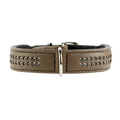 Elchlederhalsband mit Strass Diamond Petit für kleine Hunde, 27: 20-24 cm, 1,6 cm, mokka
