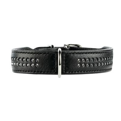 Elchlederhalsband mit Strass Diamond Petit für kleine Hunde, 30: 23-27 cm, 1,6 cm, schwarz