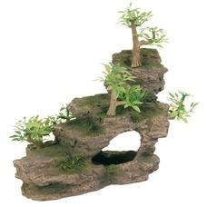 TRIXIE Felsentreppe mit Pflanzen für Aquarium
