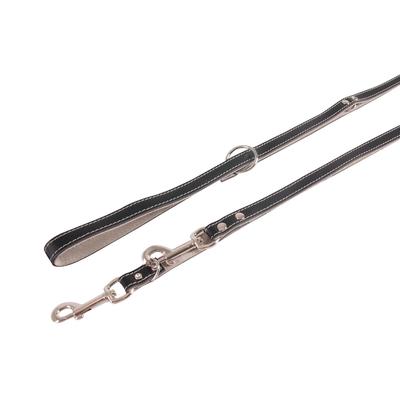 Führleine Chic aus Leder für Hunde, schwarz-grau , L: 200 cm B: 18 mm