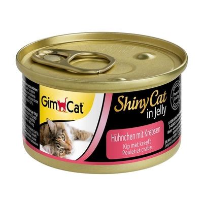 GimCat ShinyCat Katzenfutter, Hühnchen mit Krebsen 24x70g