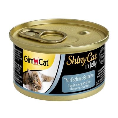 GimCat ShinyCat Katzenfutter, Thunfisch mit Garnelen 24x70g