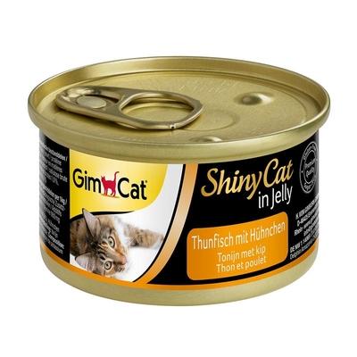 GimCat ShinyCat Katzenfutter, Thunfisch mit Hühnchen 24x70g