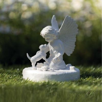 Grabstein Gedenkstein Hund mit Engel