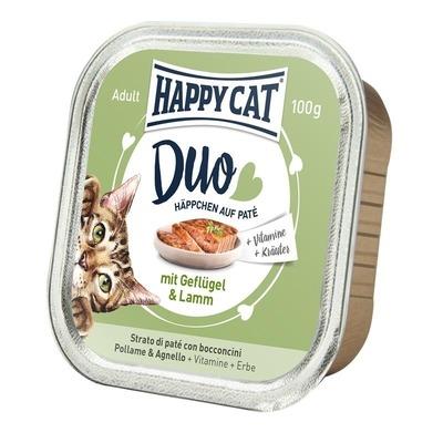 Happy Cat Duo Paté Nassfutter für Katzen, Geflügel & Lamm 12x100g
