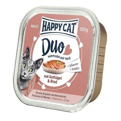 Happy Cat Duo Paté Nassfutter für Katzen, Geflügel & Rind 12x100g