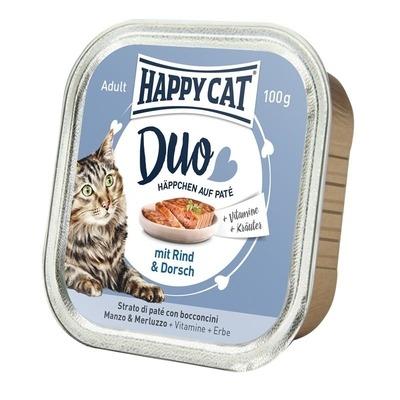 Happy Cat Duo Paté Nassfutter für Katzen, Rind & Dorsch 12x100g