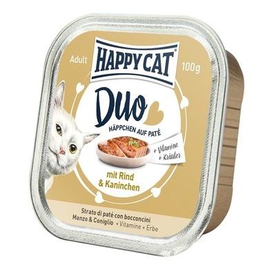 Happy Cat Duo Paté Nassfutter für Katzen, Rind & Kaninchen 12x100g