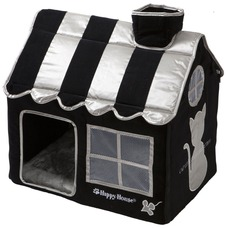 Happy House Katzenvilla Katzenhäuschen Cat Lifestyle, M: 62 x 42 x 59, schwarz
