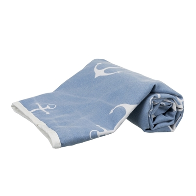 Haustier Decke Anker, 150 × 100 cm, blau/weiß