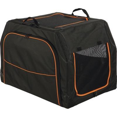 Trixie Hunde Transporthütte Transportbox Extend erweiterbar, M: 84 × 54 × 55 cm, schwarz/orange
