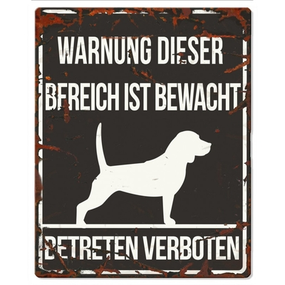 DREAM and DARE Hunde Warnschild Beagle Metall