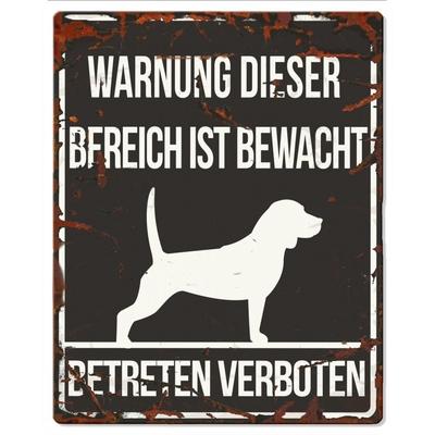 Hunde Warnschild Beagle Metall