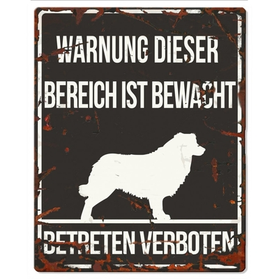DREAM and DARE Hunde Warnschild Collie Metall