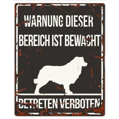 Hunde Warnschild Collie Metall