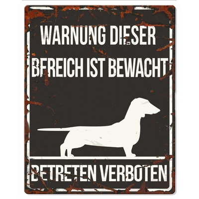 Hunde Warnschild Dachshund