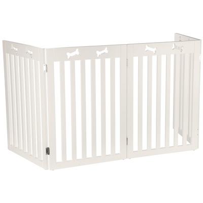 Hundeabsperrung XL für Tür Treppe, 4-teilig, 60-160 × 75 cm, weiß