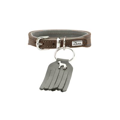 Hunter Halsband Lucca Petit für kleine Hunde, 37, walnuss/grau