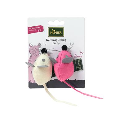 Hunter Katzenspielzeug by Laura, Maus Set rund, creme, pink, 7 cm
