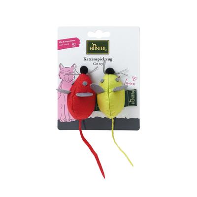 Hunter Katzenspielzeug by Laura, Maus Set rund, rot, hellgrün, 7 cm
