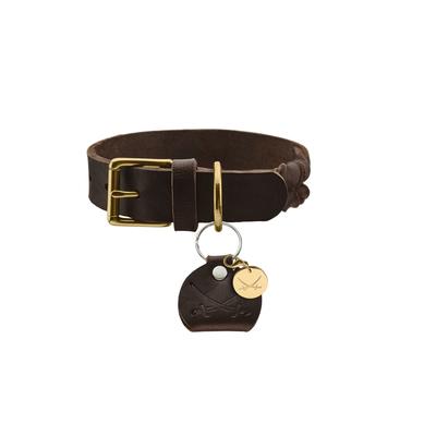 Hunter Leder Halsband Sansibar Solid, 45, dunkelbraun