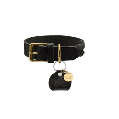 Hunter Leder Halsband Sansibar Solid, 35, schwarz