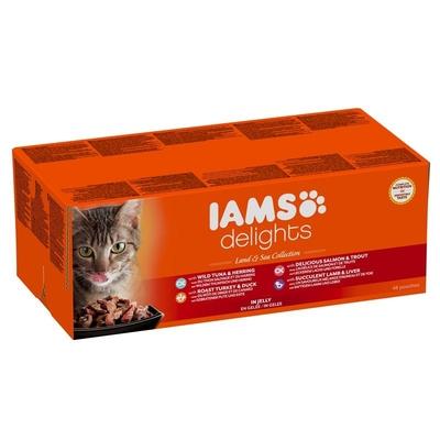 IAMS Delights Erwachsene Katzen Mix in Gelee Katzenfutter