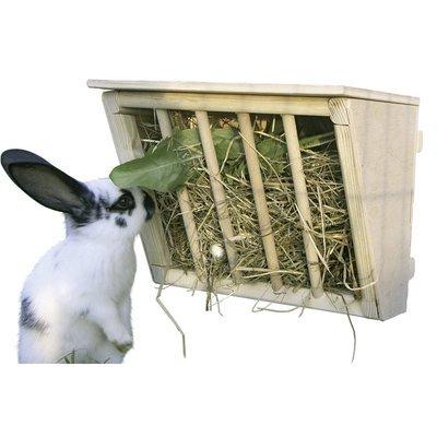 Kerbl Kaninchen Heuraufe aus Holz mit Sitzbrett